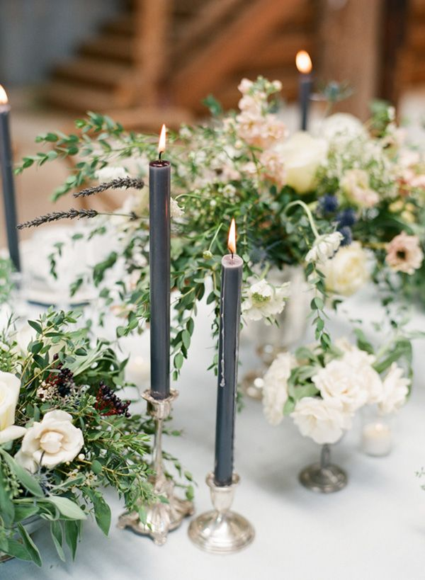 Rustic Pastel Centerpieces with Taper Candles | Connie Whitlock Photography | http://heyweddinglady.com/rustic-elegance-ranch-wedding-shoot-dusty-blue/ ‎