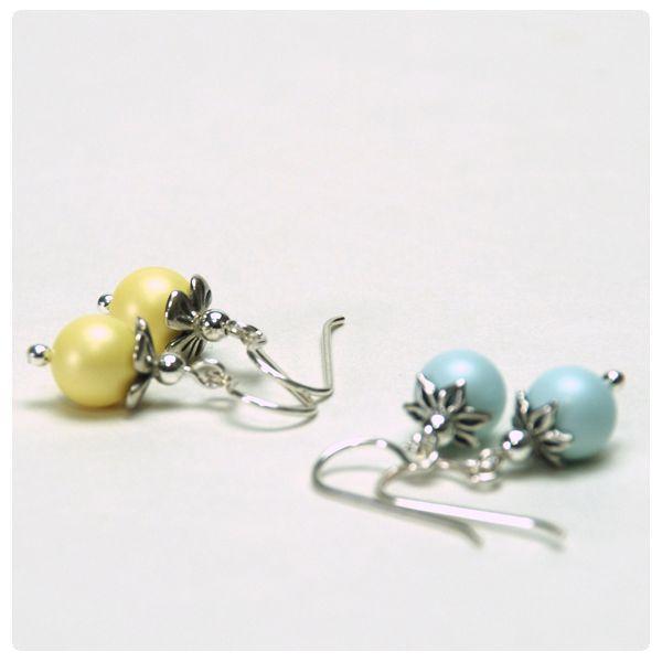 Fülbevaló inspiráció #Pastel #Grey és Pastel #Yellow színű #Swarovski Crystal Round gyöngyökből.