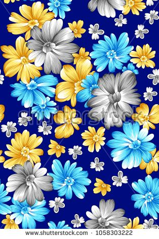 flower pattern navy background - buy this illustration on Shutterstock & find other images.