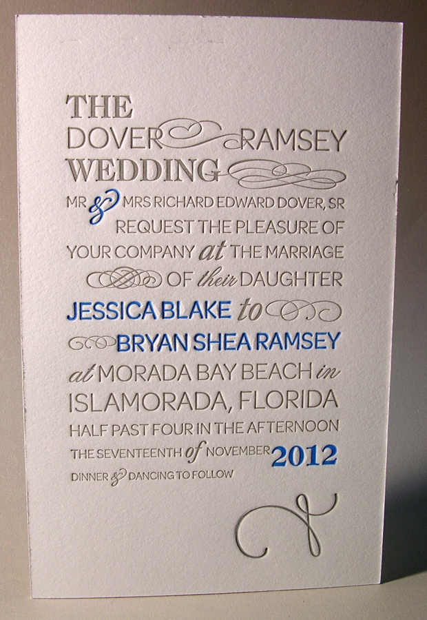 Letterpress Wedding Invitation Two Color Grey And Blue Custom Type Set