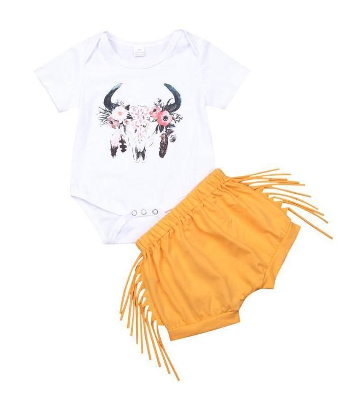 Lovely Yellow Fringe Baby Girl Summer Outfit