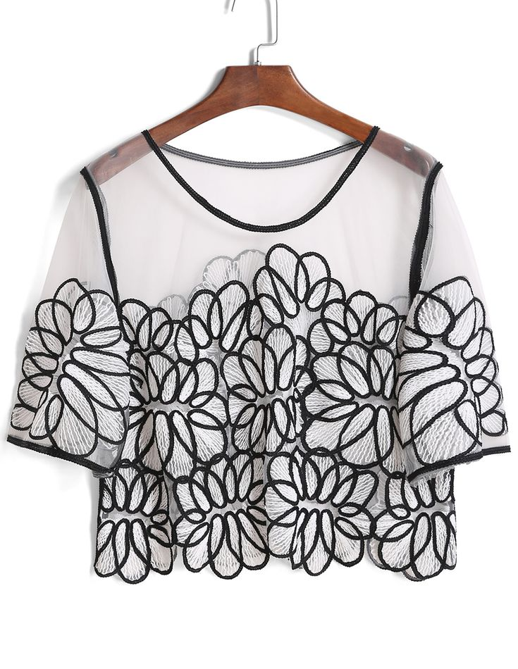 Mesh Embroidered Crop Top 14.17