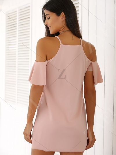 Spaghetti Straps Cold Shoulder Mini Dress PINK: Casual Dresses | ZAFUL