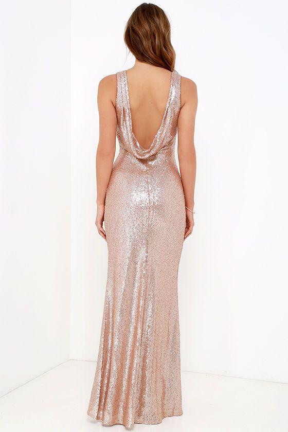 Slink and Wink Matte Rose Gold Sequin Maxi Dress   Rose ...