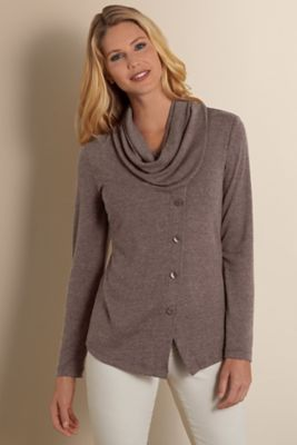 Prior Park Pullover - Women's Cowl Neck Sweater, Cowl Neck Asymmetrical Sweater | Soft Surroundings