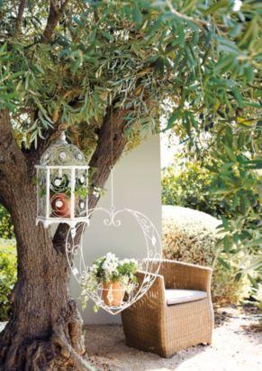 Decorative Hanging Bird Cage - White Wash, 0000004084181 #mygardenstyle #bq