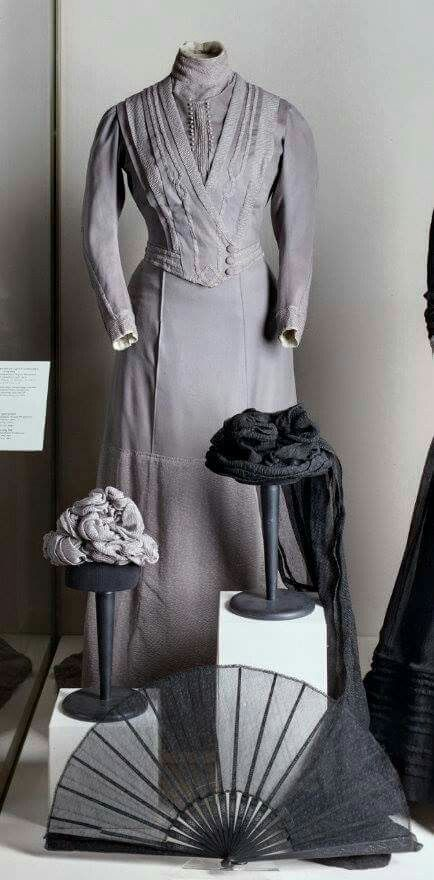 "Funeral clothes once worn by the Dowager Empress Marie Feodorovna of Russia from 1910. ""AL"""