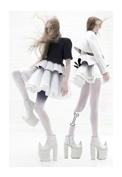 Womenswear fashion editorial with white ultra-high platform high heel shoes - http://pinterest.com/arenaint