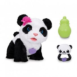 Meet Pom Pom, My Baby Panda pet, who wants to belong to your family. Pom Pom looks and feels like a real panda. When kids speak to her, she responds, and she'll walk to kids when they shake her rattle. When it's snack time, she's got a bottle kids can feed her with, and she wiggles and giggles when it's playtime! There's no end to the cuddly fun when kids have their own baby panda pal.