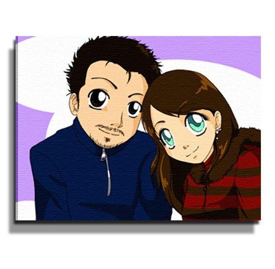 Ritratto Su Tela Stile Manga