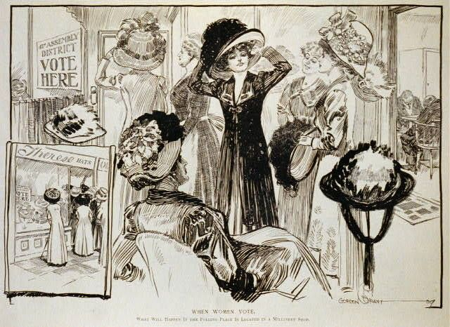 When Women Vote,c1909,Polling place located in Millinery Shop,women,hot shop