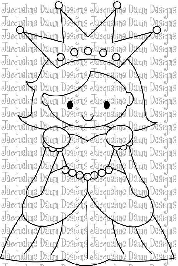 Digital Stamp  Pretty Pretty Princess by paperaddictions on Etsy, $3.00...I'd like to try to make this pretty little princess in felts