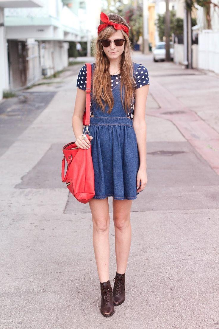 デニムワンピにドットシャツ、レッド小物で遊んじゃう♪ ♡10代のファッション スタイルの参考コーデまとめ♡
