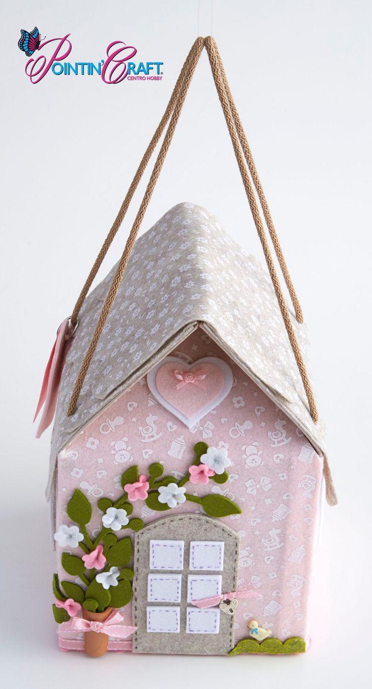 http://www.pointincraft.eu/it/ #pointincraft #pointincrea #casetta #rosa #fiori #stoffa #feltro #primavera #spring #creazioni #progetti