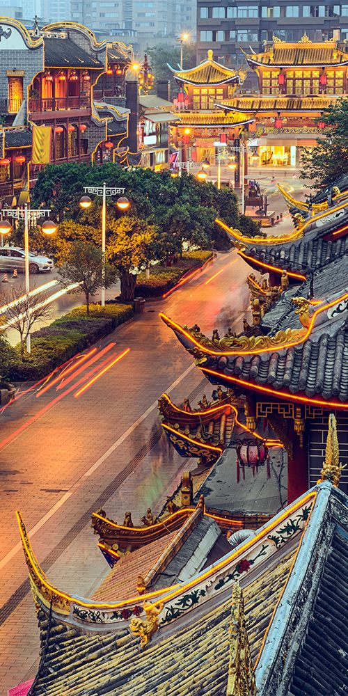 The traditional Qintai Road district in Chengdu, China
