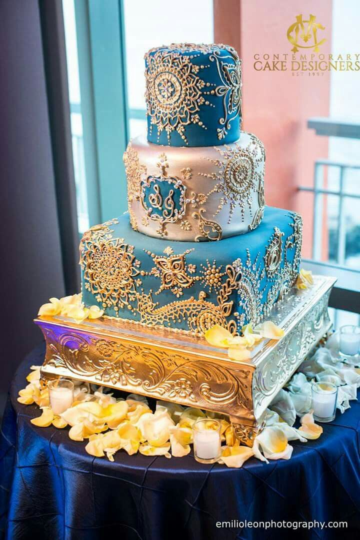 Gold & Blue, perfect shades for a beautiful Indian Wedding!  Carlos Fernando & Maricel Morales,  C+M Contemporary Master Cake Designers  Email: cmcakedesigners@gmail.com Appointments: Tuesday - Thursday: 787-467-1437  Decoration by: Glow Events Venue: La Concha Weddings La Concha Resort