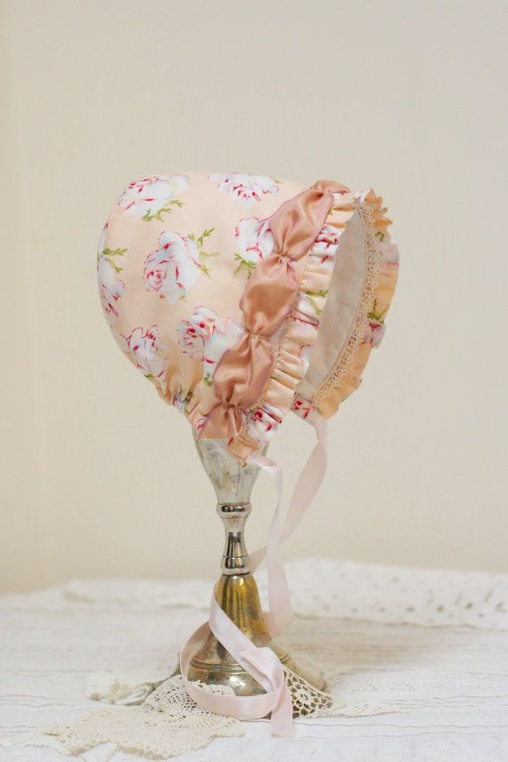 Baby bonnet in Vintage-Roses -- Sun bonnet. Easter bonnet. infant  photo prop. baby hat. prairie bonnet. baby girl shower gift . pink bonnet