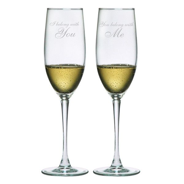 This is the perfect champagne toasting set of glasses for your wedding reception.
