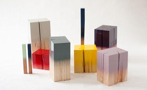 """Trifin"" pine wood trunks by German designer Judith Seng"