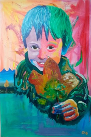 Kid with autumn leaf -101.6cmx152.4cm (sold)