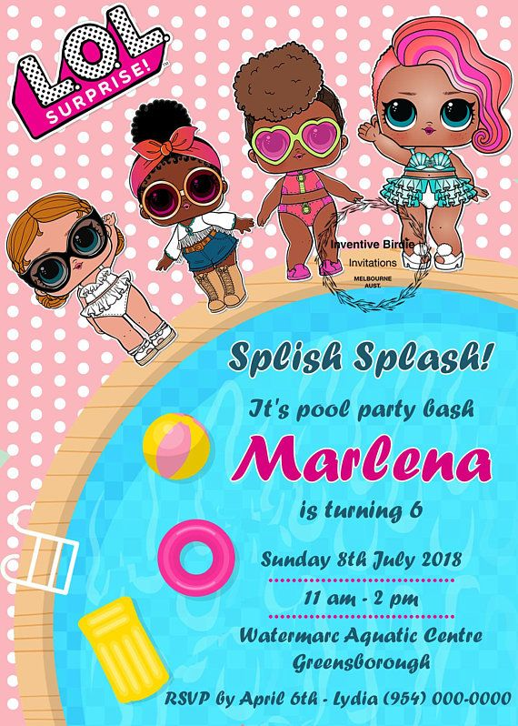 LOL SURPRISE Pool Party Invitation Birthday Invitations Lol Dolls Printable InvitesSplash Get FREE Thank You Tag