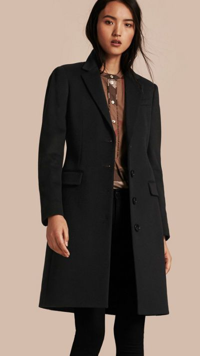Black Tailored Wool Cashmere Coat 1