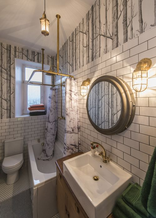 bathroom remodel; mirror; toilet; tile floor; shower; lighting; sink; wall art |  Deborah Peterson Milne