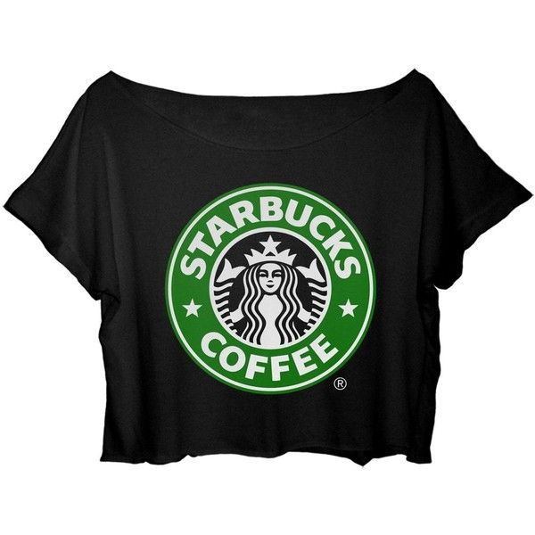 ASA Women's Crop Top Starbucks Coffee T-shirt (735 UYU) ❤ liked on Polyvore featuring tops, t-shirts, coffee t shirts, crop tee, coffee tee, cut-out crop tops and crop t shirt