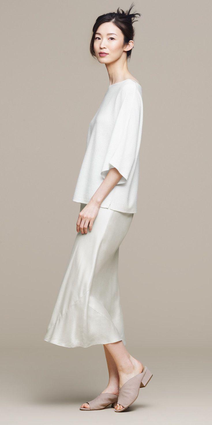bfff23462b94 Seamless Italian Cashmere Box-Top. Sandwashed Silk Charmeuse Bias-Cut  Skirt. Katniss Slide.
