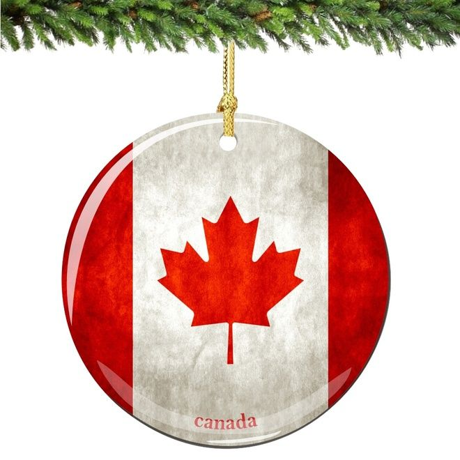 Canada Flag Porcelain Christmas Ornament Dollar Store Christmas Decorations Porcelain Christmas Ornaments Christmas Decorations Ornaments