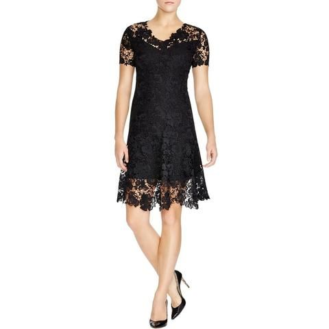Elie Tahari Womens Samira Lace Lace Overlay Evening Dress | BHFO