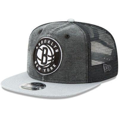 Men's Brooklyn Nets New Era Black Rugged Trucker 9FIFTY Original Fit Adjustable Hat