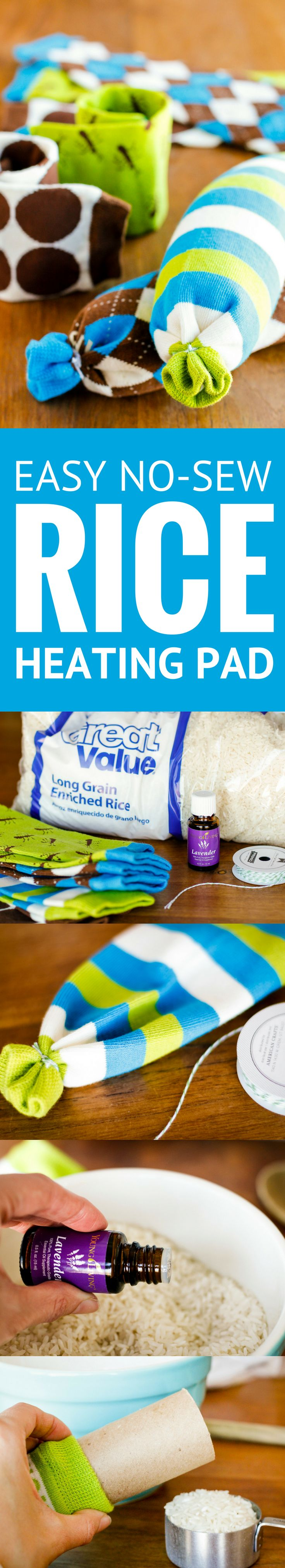Easy No-Sew Rice Heating Pad -- Pinned nearly 100,000 times! These homemade microwavable rice heating pads took less than 5 minutes to make, start to finish! Perfect for soothing sore muscles or warming up from the cold, especially when you add a few drops of essential oil…| rice heating pad sock | rice heating pad diy | homemade hot pack | rice heating pad instructions | rice heating pad tutorial | how to make a rice heating pad | find the tutorial on unsophisticook.com