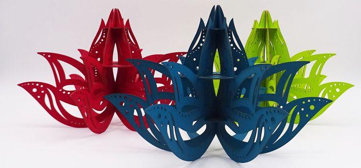 Porte bijoux lotus découpe laser. Fabriqué en carton et à assembler soi-même. Design - DIY