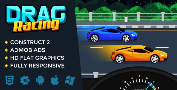 Drag Racing . Try yourself in a role of the one of drag-racers of the flat world and partitipate in regular night races! Drag Racing has been created in Construct 2 with awesome flat graphics. And off course, this game can be easily customized and exported to any web or mobile