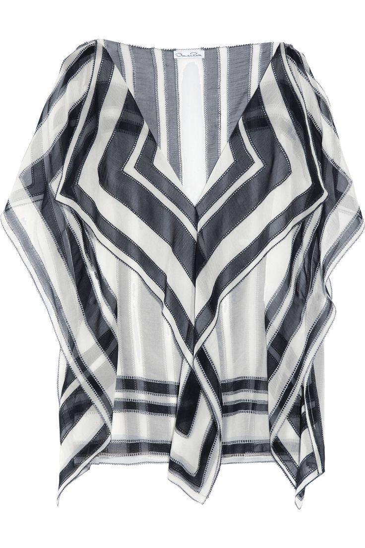 OSCAR DE LA RENTA  Printed silk-chiffon top