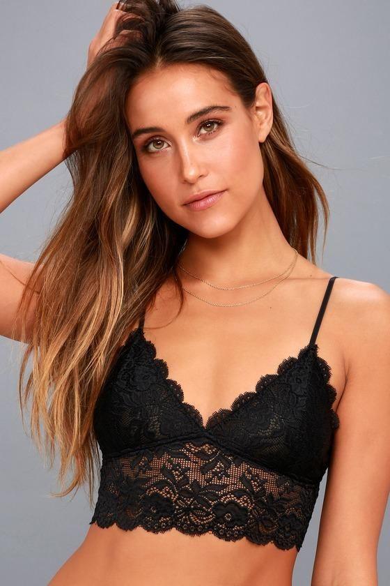 8d65178045  Lulus -  Lulus Etophe - Romantic Touch Black Lace Bralette - Size Large -  Size Large - 100% Polyester - Lulus - AdoreWe.com