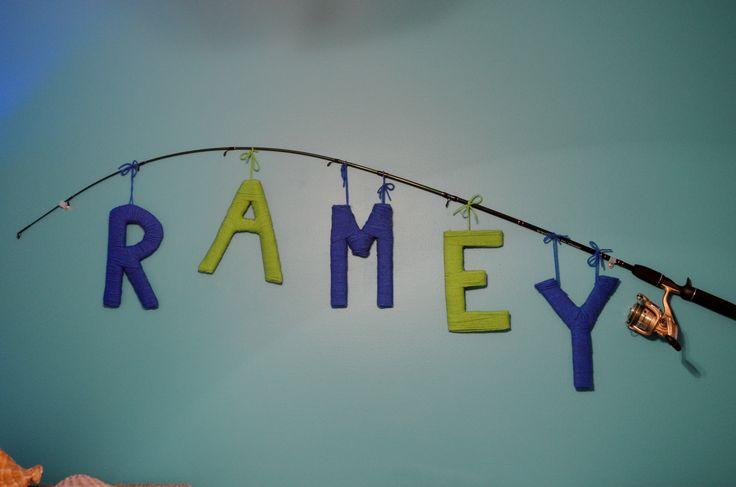Yarn letter name on fishing pole, Baby nursery, fish nursery, baby boy nursery