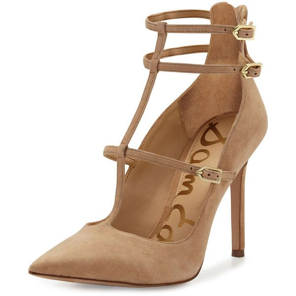 Sam Edelman Hayes Suede Caged Pointed-Toe Pump found on Polyvore featuring shoes, pumps, heels, golden caramel, pointy toe shoes, high heel shoes, pointy-toe pumps, golden shoes and suede pumps