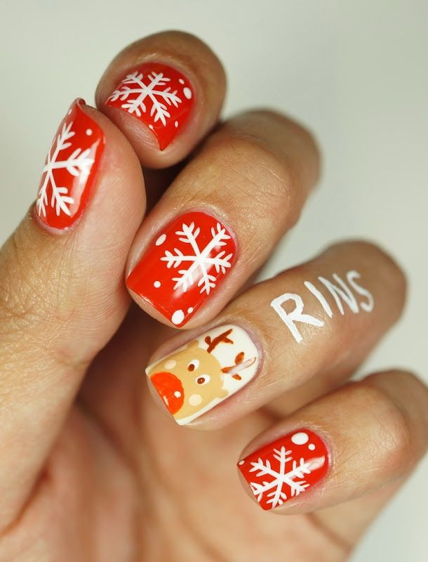 Snowflake/Reindeer Nails - Winter Christmas Nail Art