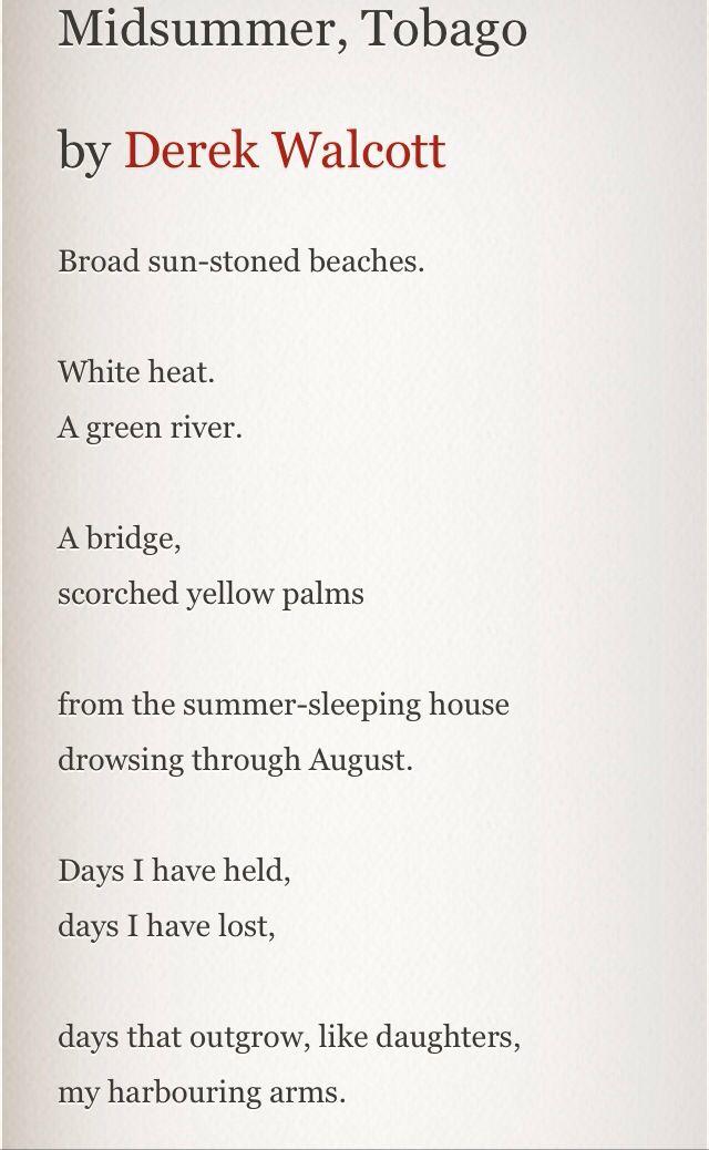 MIDSUMMER, TOBAGO by Derek Walcott.