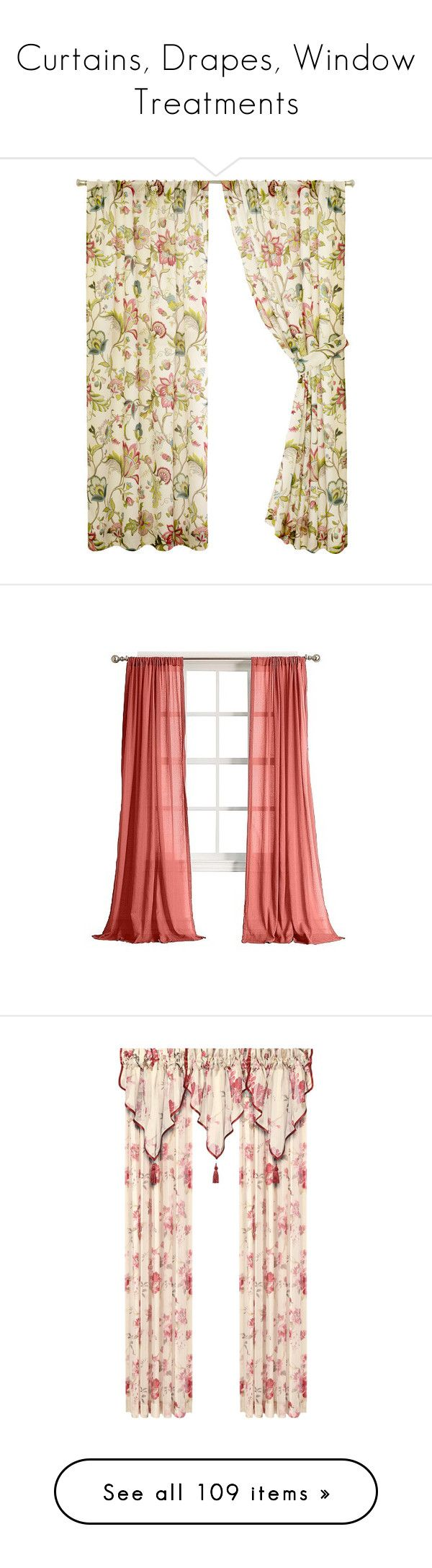 """Curtains, Drapes, Window Treatments"" by funkyjunkygypsy ❤ liked on Polyvore featuring home, home decor, window treatments, curtains, jacobean floral curtains, rod pocket curtains, pole pocket curtains, jacobean curtains, floral pattern curtains and pink"