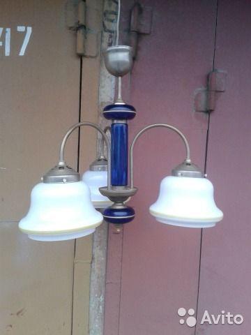 Люстра золотисто синяя 3-рожковая