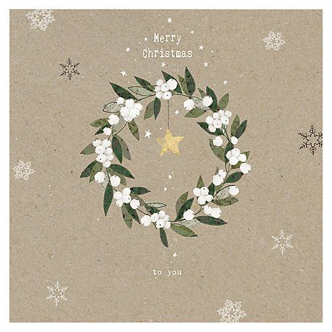 Buy Hammond Gower Kraft Mistletoe Wreath Cards, Pack of 5 Online at johnlewis.com