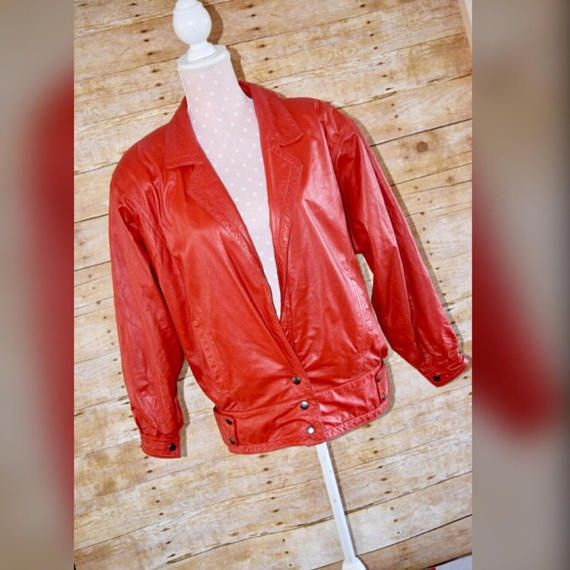 Vintage 80s Brass Plum Nordstrom Red Leather Bomber Jacket Sz M