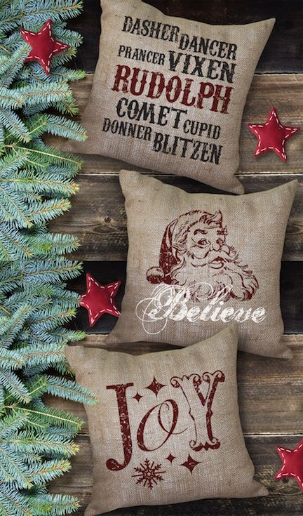 Holiday Burlap Pillows from Bourbon & Boots. Love this vintage look!!!