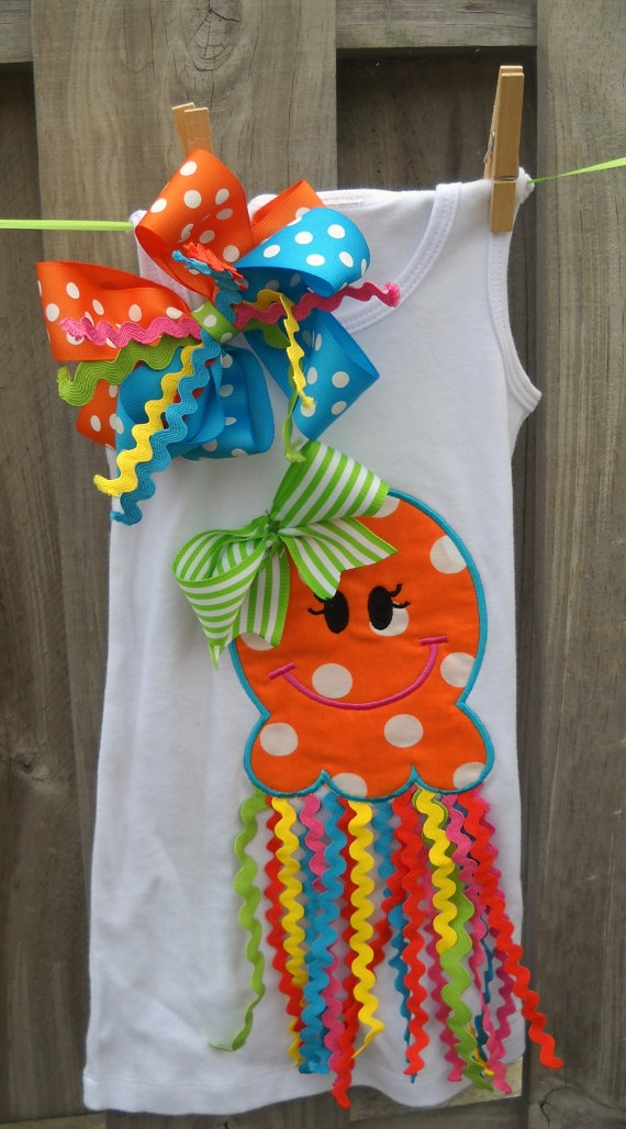 Jellyfish Dress Onesie Shirt with Ric Rac by LilMissAnnabelle, $35.00