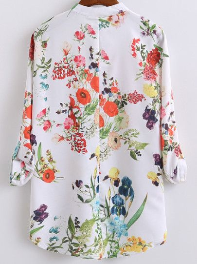 Botanical Print Half Placket High Low Blouse -SheIn(Sheinside)