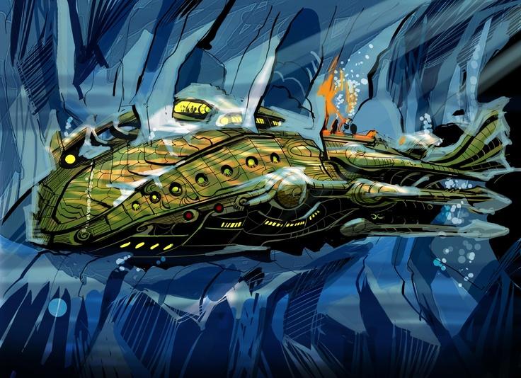 Veinte mil leguas de viaje submarino: El Nautilus aprisionado por una masa de bloques de hielo | 2778 × 2016 | This seems to owe more to Chris Foss www.chrisfossart.com/ than to Disney or Verne! Artist unknown #nautilus