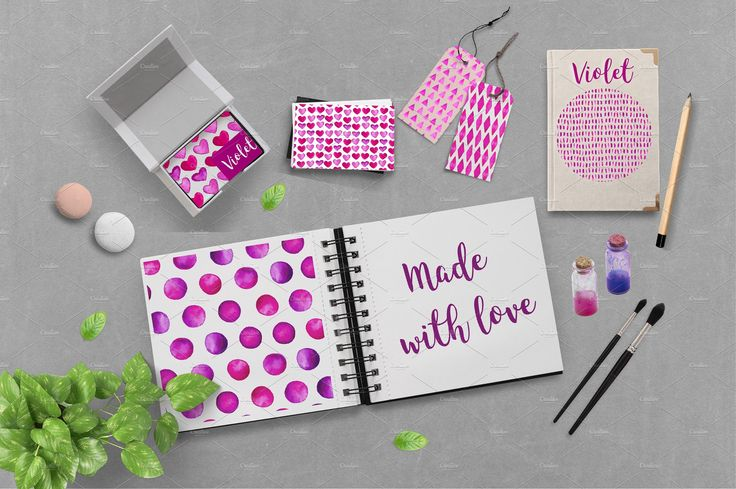 Violet. Watercolor patterns by Katerina on @creativemarket